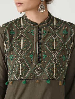 Brown Embroidered Mandarin Collar Cotton Kurta by Jaypore