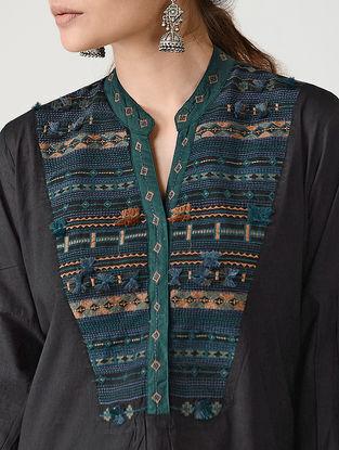 Black Embroidered Mandarin Collar Cotton Kurta by Jaypore