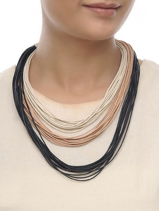 Beige-Black Cotton Thread Necklace