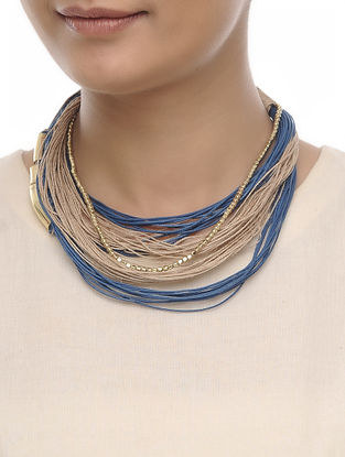 Beige-Blue Cotton Thread and Jute Necklace