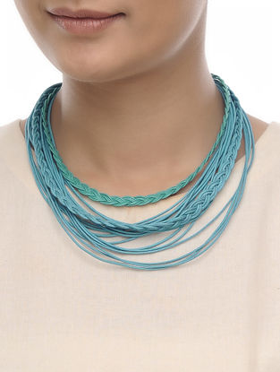 Blue Cotton Thread Necklace
