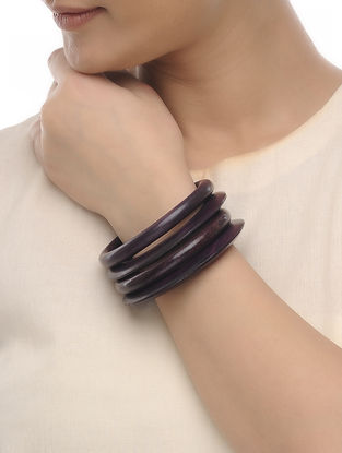 Brown Wood Bangles (Set of 4)
