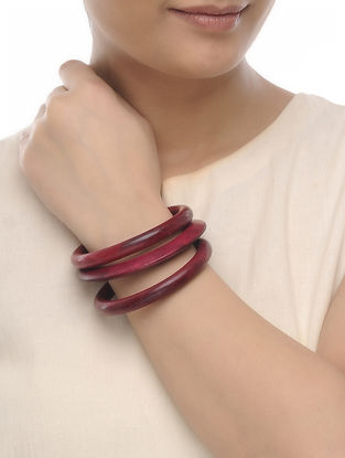 Pink Wood Bangles (Set of 3)