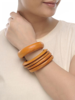 Yellow Wood Bangles (Set of 5)