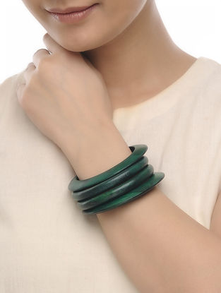 Green Wood Bangles (Set of 4)