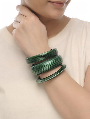 Green Wood Bangles (Set of 3)
