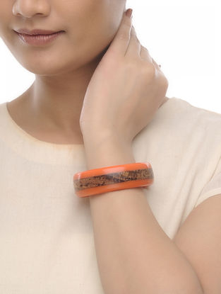 Orange Resin and Wood Bangle