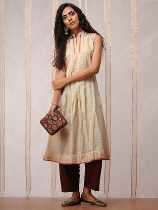 Beige-Red Pleated Mandarin Collar Tussar Silk Kurta by Jaypore