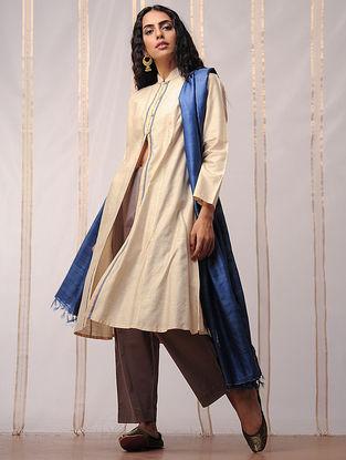 Beige-Blue Mandarin Collar Button-down Tussar Silk Kurta by Jaypore
