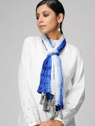 Ivory-Blue Ombre-dyed Silk Scarf with Tassels
