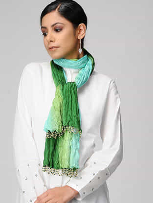 Green-Turquoise Ombre-dyed Silk Scarf with Tassels