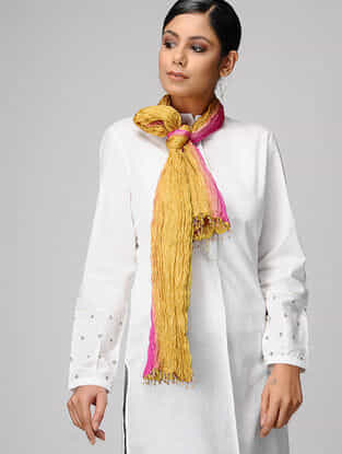 Yellow-Pink Ombre-dyed Silk Scarf with Tassels