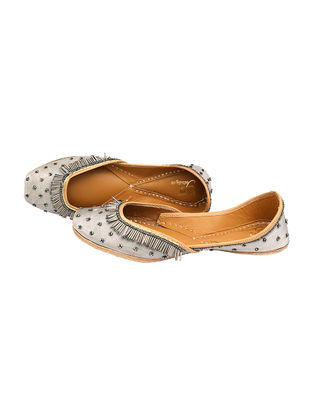 Silver Handcrafted Silk and Leather Juttis With Metal Embellishments