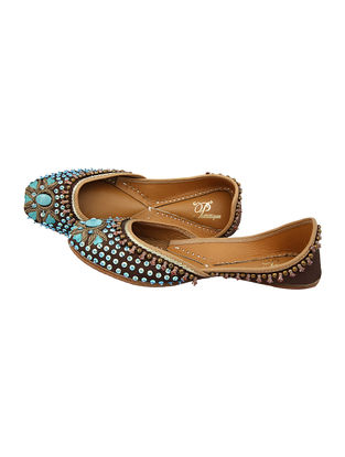 Brown-Blue Handcrafted Silk and Leather Juttis With Sequins And Beads