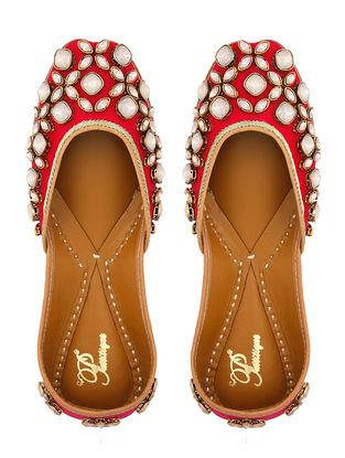 Coral Kundan Embellished Silk Juttis