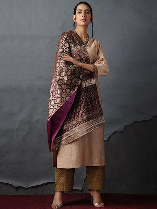 Brown-Pink Vintage Benarasi Silk Brocade Dupatta