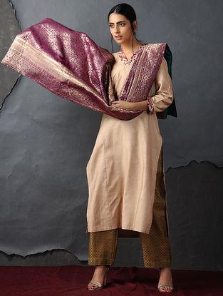 Fuschia-Green Vintage Benarasi Silk Brocade Dupatta