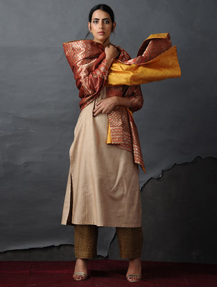 Orange-Yellow Vintage Benarasi Silk Brocade Dupatta