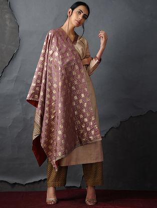 Pink-Orange Vintage Benarasi Silk Brocade Dupatta