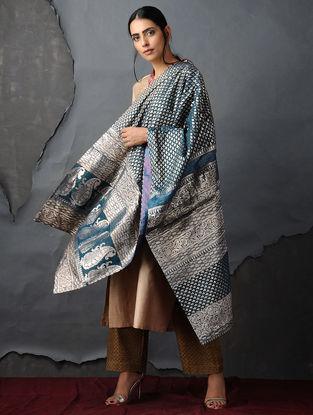 Blue-Purple Vintage Benarasi Silk Brocade Dupatta