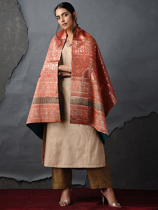 Orange-Green Vintage Benarasi Silk Brocade Dupatta