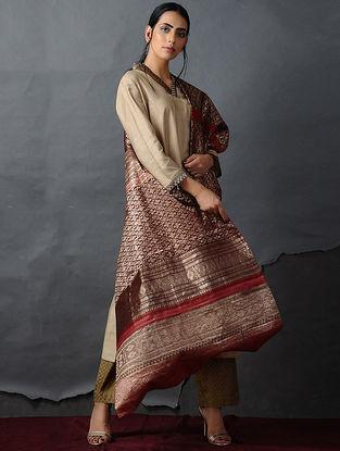 Brown-Orange Vintage Benarasi Silk Brocade Dupatta