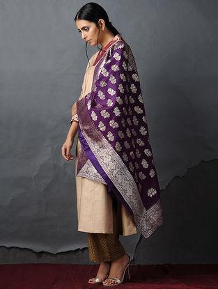 Purple Vintage Benarasi Silk Brocade Dupatta