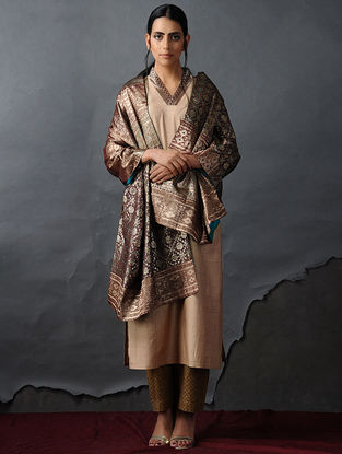 Brown-Blue Vintage Benarasi Silk Brocade Dupatta