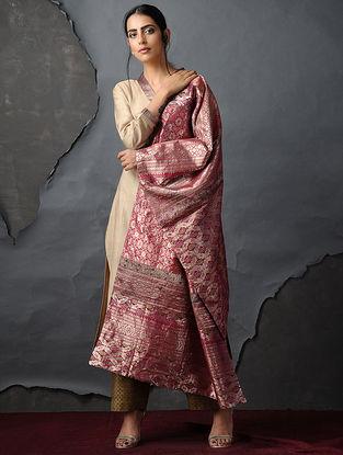 Pink Vintage Benarasi Silk Brocade Dupatta
