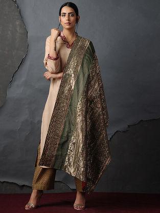 Green-Red Vintage Benarasi Silk Brocade Dupatta