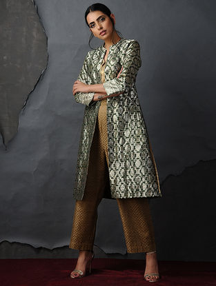 Green-Silver Vintage Benarasi Silk Brocade Jacket