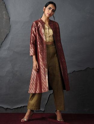 Rust-Gold Vintage Benarasi Silk Brocade Jacket