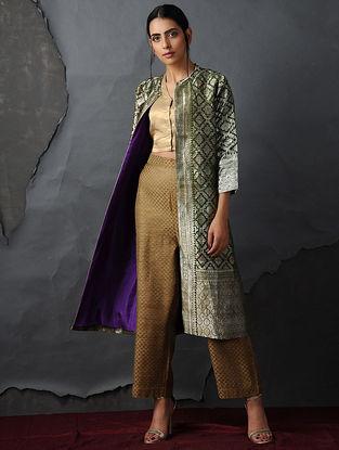 Green-Gold Vintage Benarasi Silk Brocade Jacket