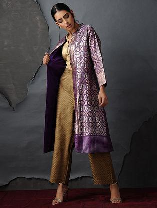 Purple-Gold Vintage Benarasi Silk Brocade Jacket