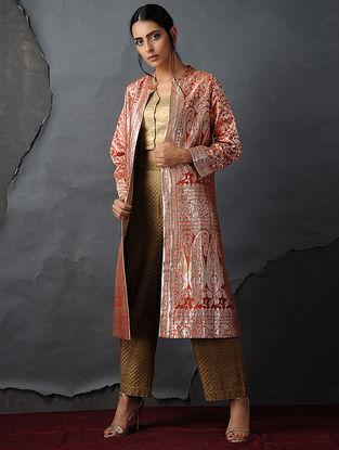 Orange-Gold Vintage Benarasi Silk Brocade Jacket