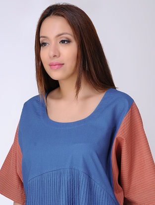 Indigo-Rust Natural-dyed Cotton Dobby Top with Pintuck by Jaypore