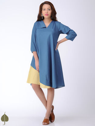 Indigo-Yellow Natural-dyed Cotton Dress by Jaypore