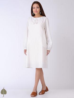 White Tie-Up Neck Cotton Dress by Jaypore