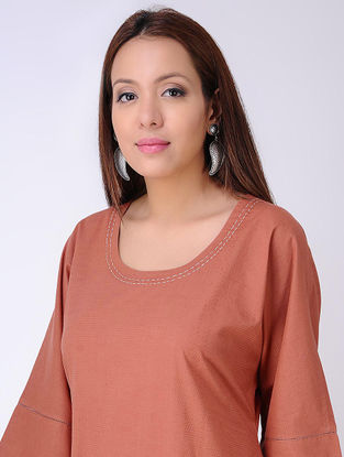Rust Natural-dyed Cotton Dress with Embroidered detail by Jaypore