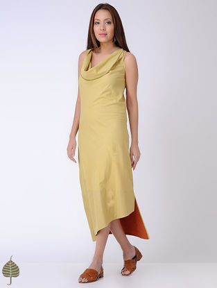 Yellow Natural-dyed Cotton Dress by Jaypore
