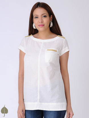 White Tie-Up Cotton Dobby Top by Jaypore
