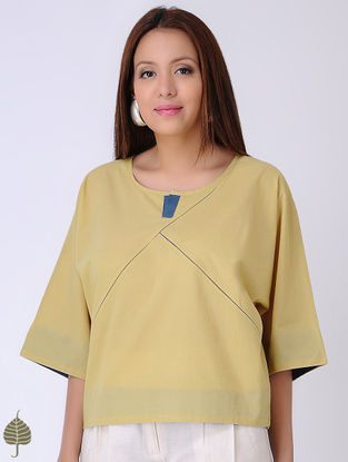 Yellow Natural-dyed Cotton Top by Jaypore