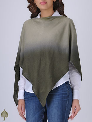 Grey Ombre Silk Wool Poncho by Jaypore