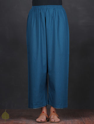 Blue Elasticated Waist Cotton Pants with Tissue Trim by Jaypore