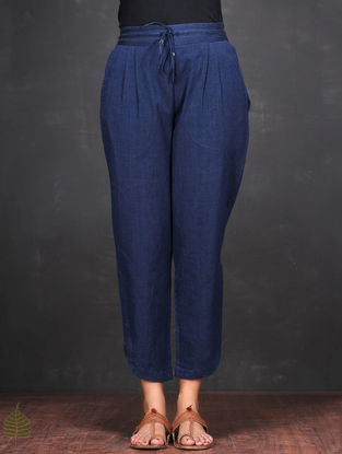 Navy Blue Elasticated Tie-up Waist Cotton Pants by Jaypore