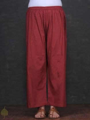 Maroon Elasticated Waist Cotton Palazzo by Jaypore