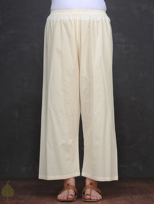 Ivory Elasticated Waist Cotton Palazzo by Jaypore
