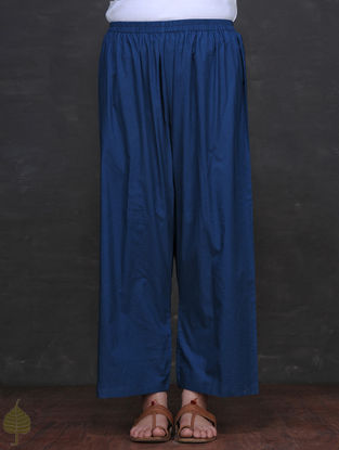 Blue Elasticated Waist Cotton Palazzo by Jaypore