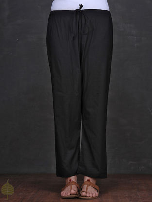 Black Tie-up Waist Cotton Pants by Jaypore
