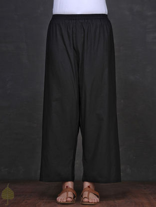 Black Elasticated Waist Cotton Palazzo by Jaypore